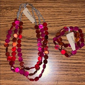 Red/Pinks Necklace and Bracelet
